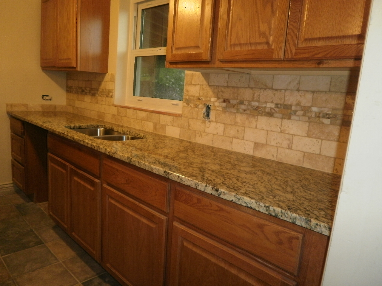 backsplash just completed 3x6 tumbled travertine backsplash with a