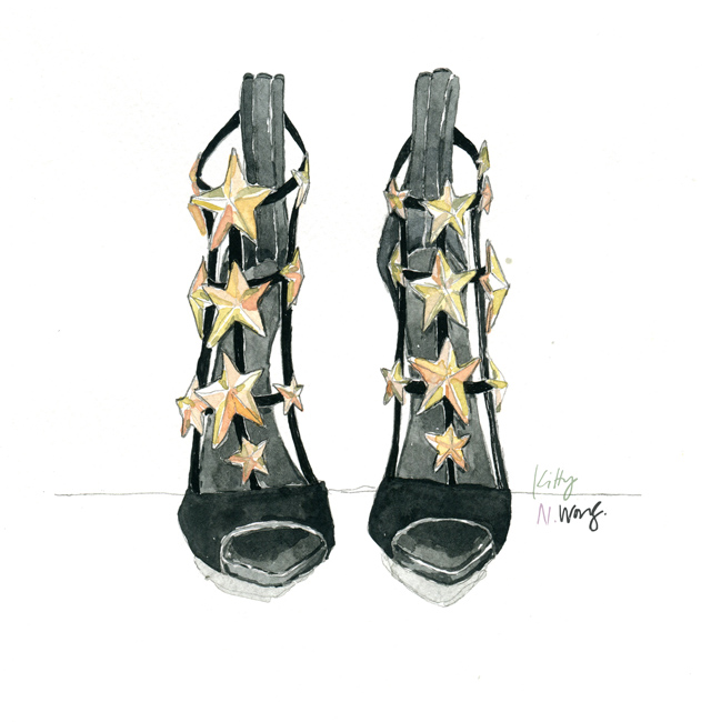 Kitty N. Wong / Illustration of Giuseppe Zanotti Black and Gold Star Heels