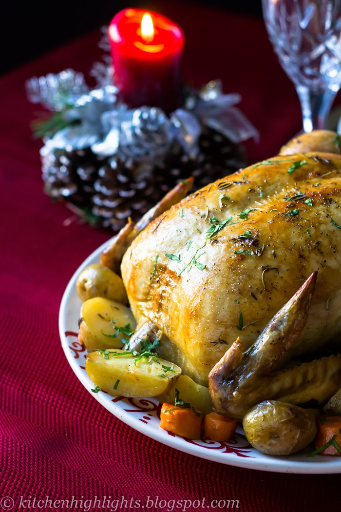 For both its simplicity of cooking and flavor, a delicious roasted chicken is perfect for Christmas dinner especially when served with rosemary potatoes