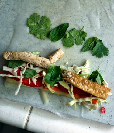 tofu cilantro mint summer roll