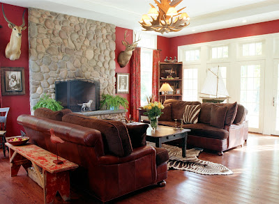 Outstanding Design Red and Brown Living Room