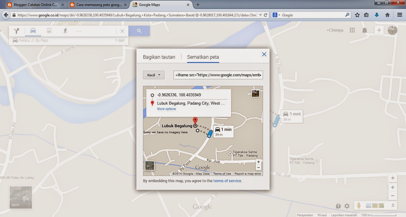 Cara Memasang Map Google Atau Google Map Di Blog Blogspot