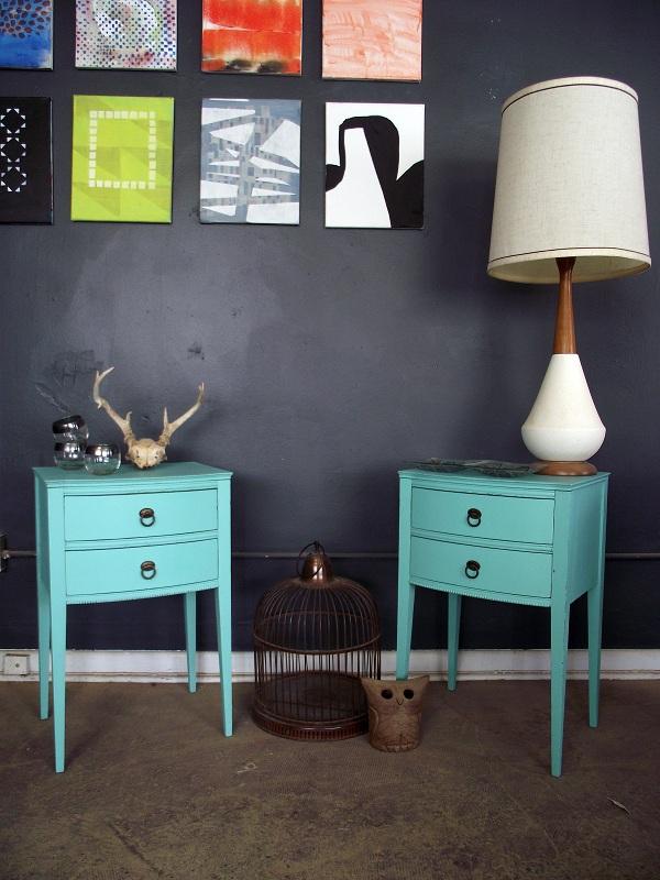 Vintage Nightstands Part - 37: Vintage Pair Tiffany Blue Inspired Nightstands / Side Tables
