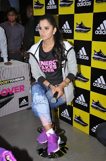 Sania Mirza in Jeans and Chest Print T Shirt at Launch of Adidas New Shoes