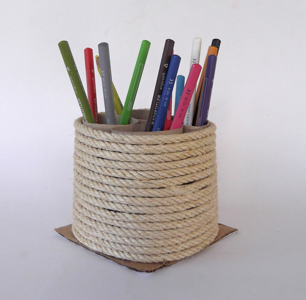 toilet paper roll pencil holder, toilet paper roll crafts, rope crafts, recycled crafts, crafts with eco materials, eco crafts, kids crafts, children crafts,