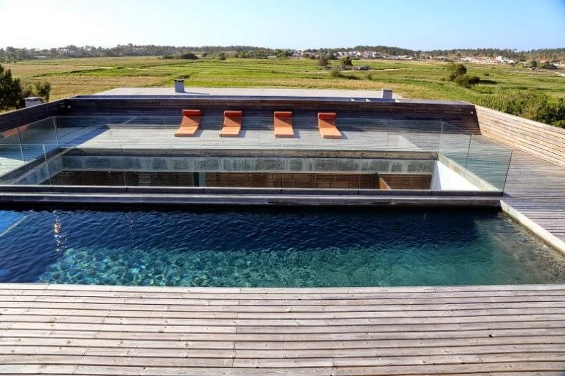 terraza con suelo de pino y piscina