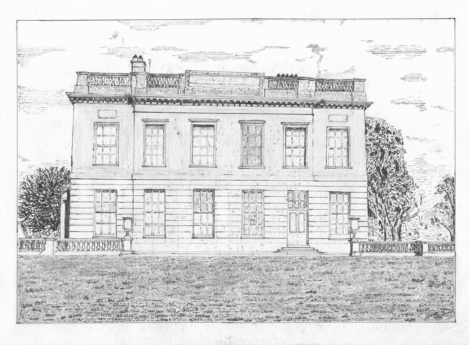 Hamlet Castle Drawing Below a Line Drawing of