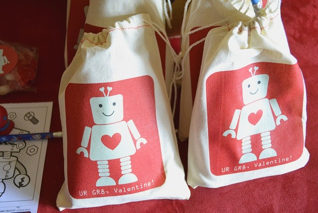 robot Valentine Playdate party favor bags