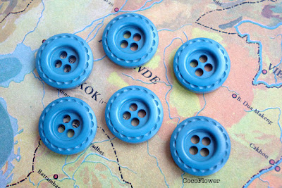 bouton vintage bleu canard - www.cocoflower.net