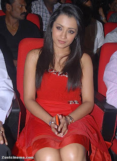 Trisha in Spicy Small Red Dress at Bodyguard Audio Launch