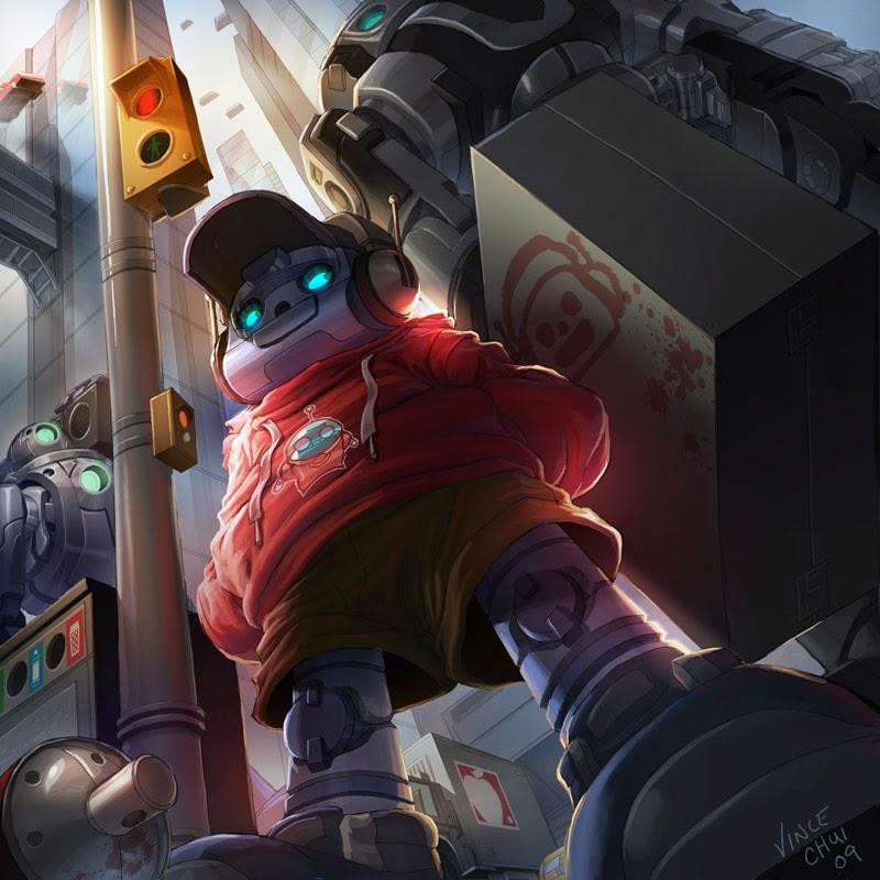 illustration de Vince Chui représentant un gamin robot en contre plongée