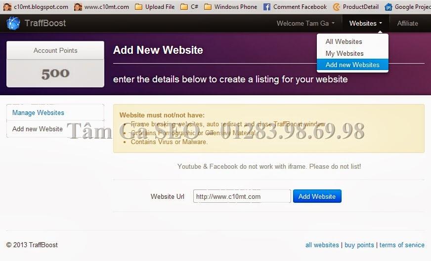 Add new website Traffboost
