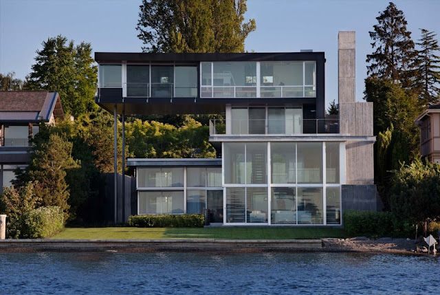 Picture of modern unusual house as seen from the sea