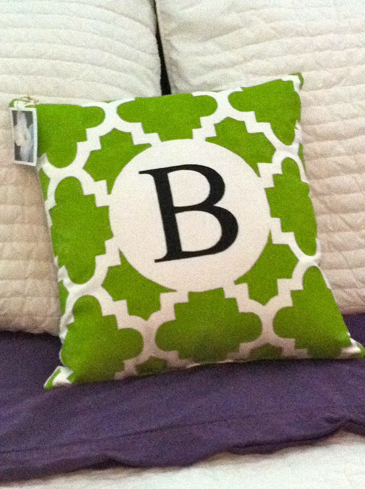 Graceadkinsdesigns small hand painted green lattice pillow for Hand painted pillows
