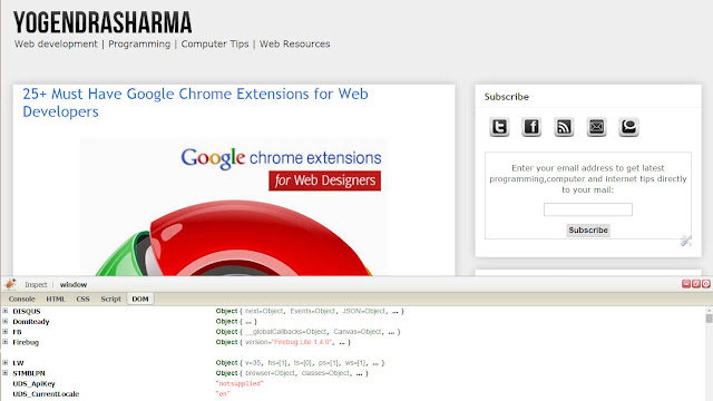 firebug lite google chrome extension