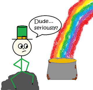 "Dejected leprechaun sitting on a rock, wearing green with a green hat, staring at a rusty pot at the end of the rainbow, saying, ""Dude... seriously?"""