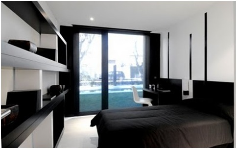 Black and white bedrooms minimalist dorms bedroom for Minimalist black and white bedroom