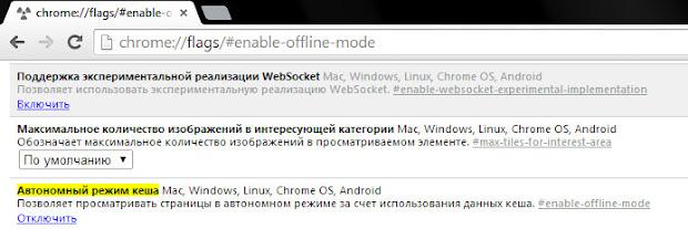 включение и выключение автономного режима в браузере Google Chrome для просмотра удаленной страницы