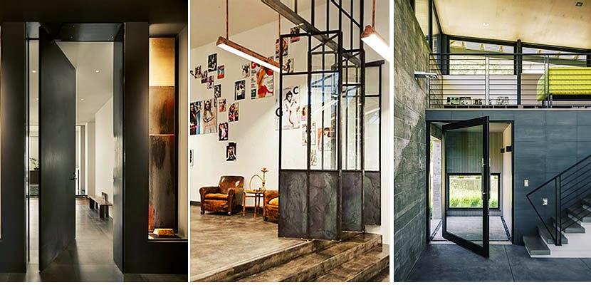 las puertas pivotantes aportan fluidez a los espacios se utilizan para conectar el exterior e interior de los hogares una
