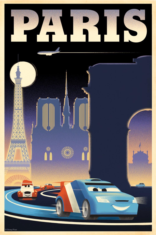 Access pixar 3 more cars 2 vintage posters for Salon pixar paris