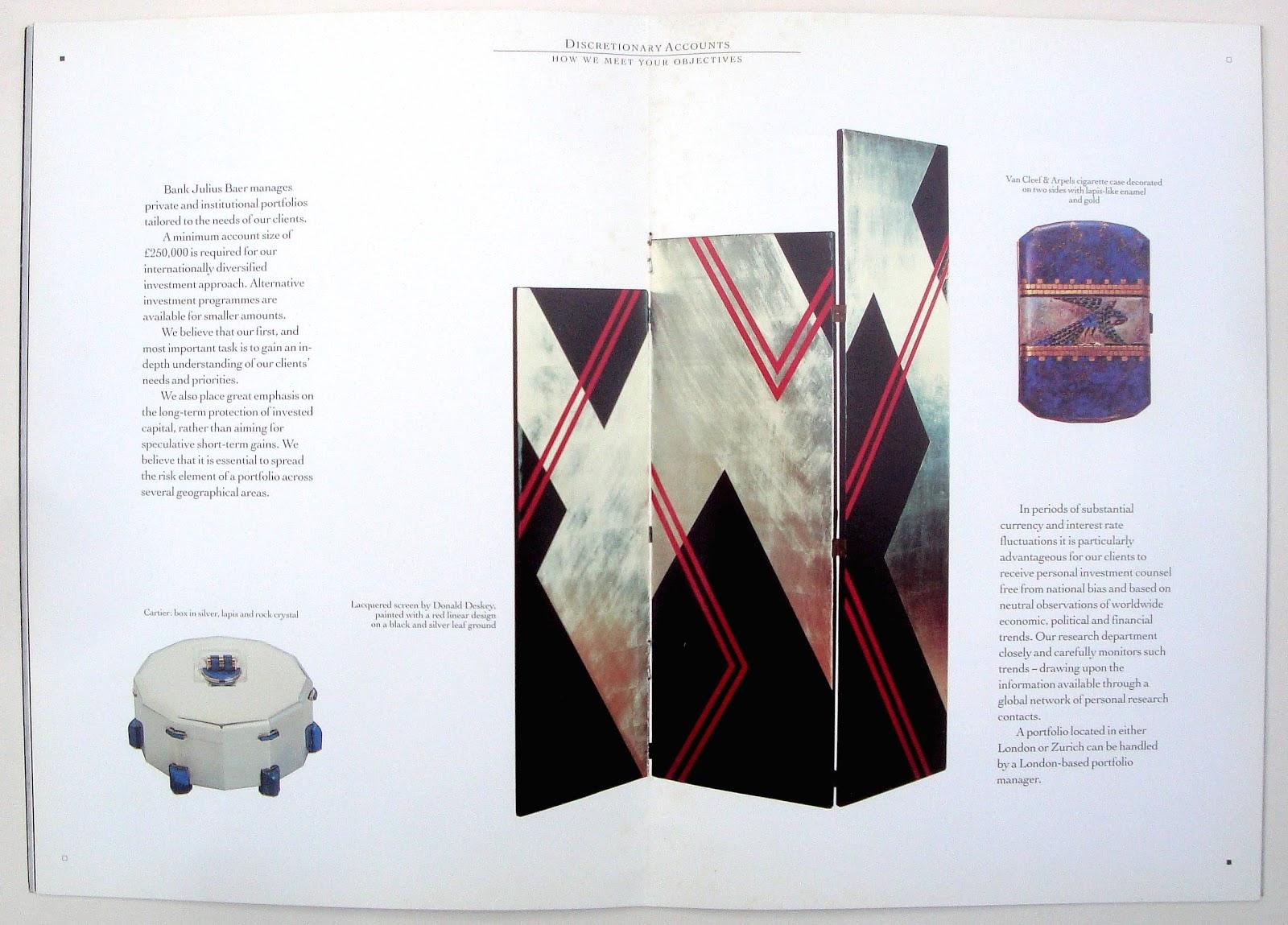 past print bank julius baer art deco brochure 1980s. Black Bedroom Furniture Sets. Home Design Ideas