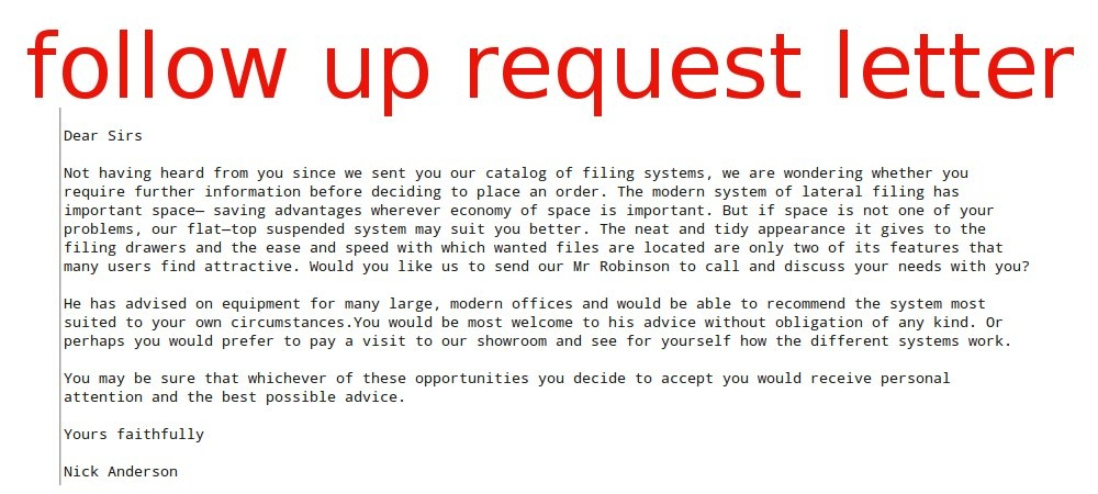 follow up request letter samples business letters