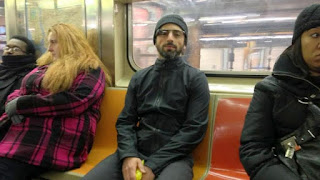 Sergey Brin in NY Subway testing Google glass