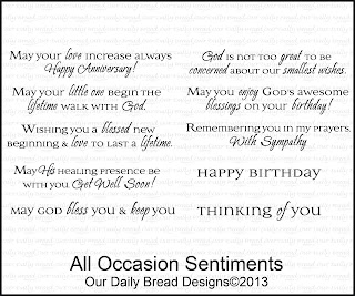 Our Daily Bread designs stamps,All Occasion Sentiments