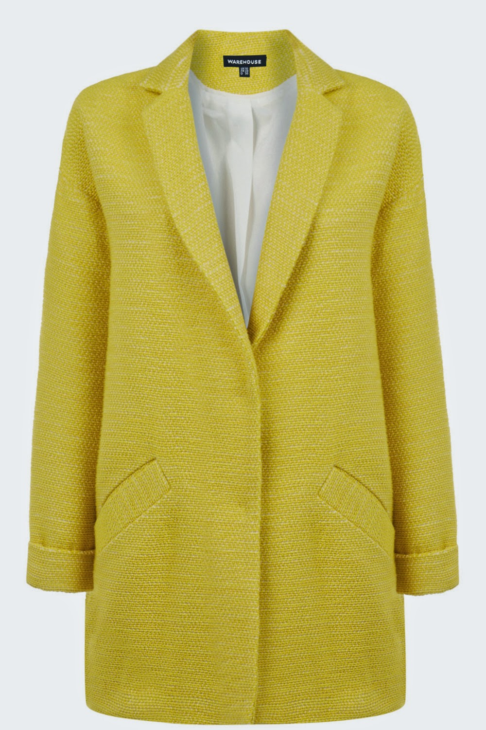 warehouse yellow coat, yellow boucle coat,