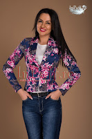 Sacou bumbac albastru imprimeu floral (Ade Fashion)