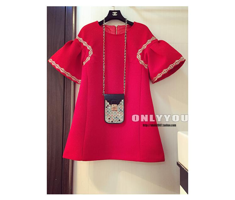 Busana: Dress Merah Bis Renda Kuning (BSF-263)