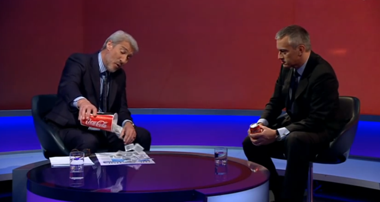 Journalist shows Coca Cola boss how much sugar is in their drink