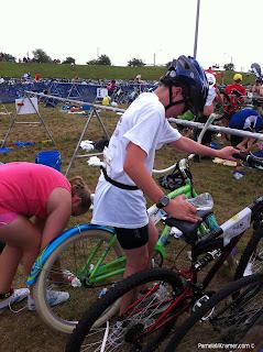 Houston Kids Triathlon transition to bike