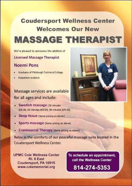 Massage Therapy, Coudersport Wellness