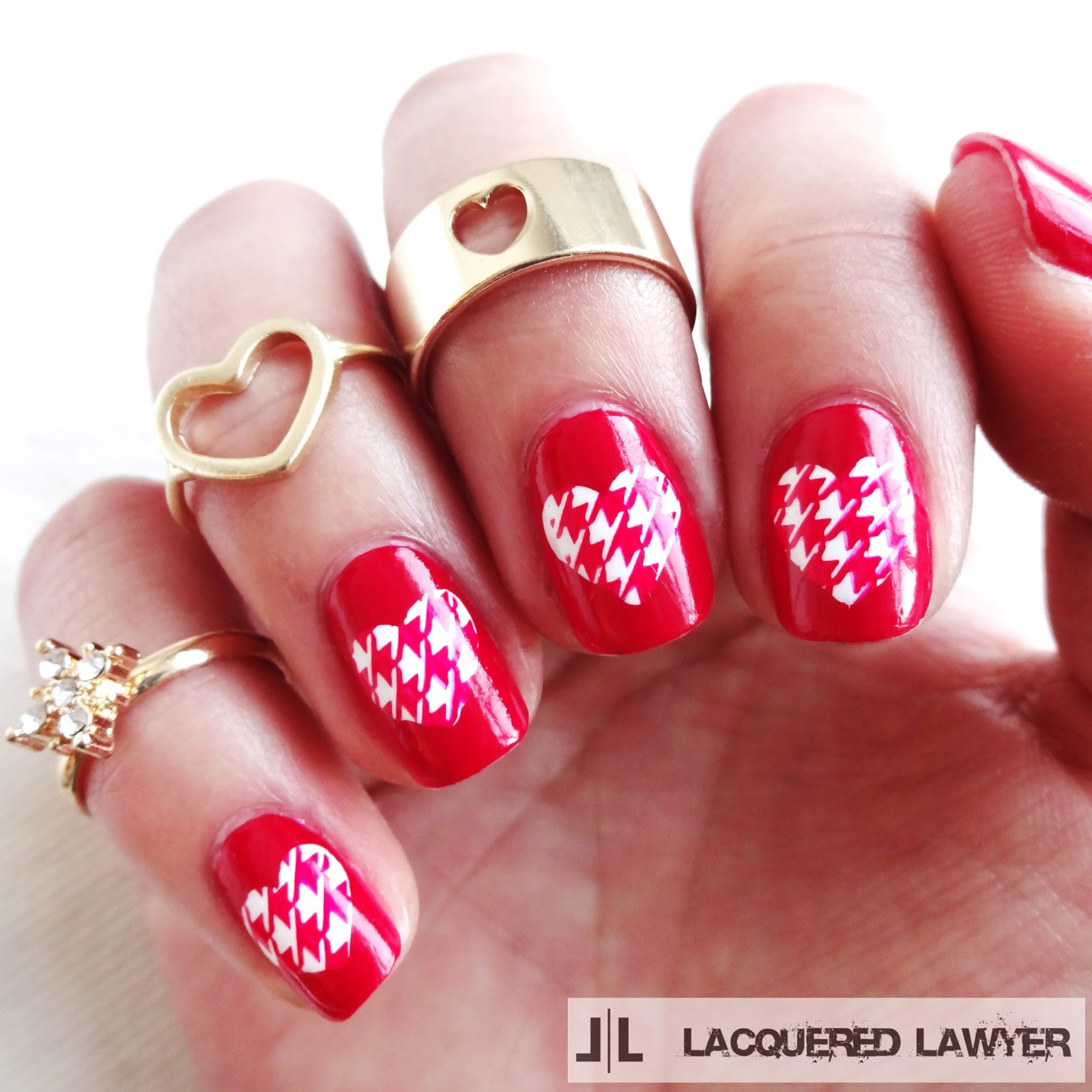 Houndstooth Heart Nail Art