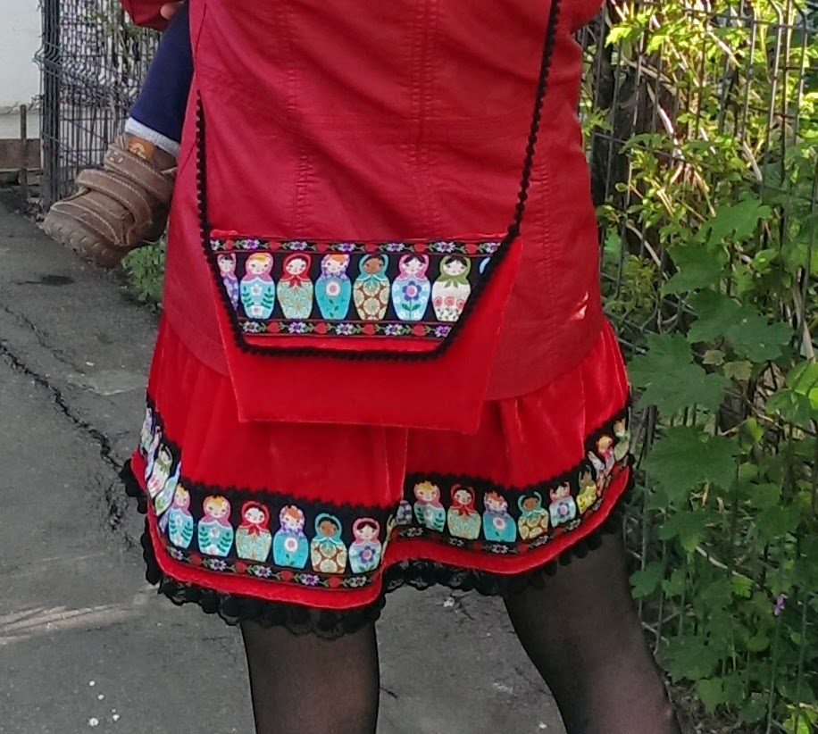 """""""Make It Yours"""" sewing contest, clutch, matryoshka doll, pom poms tape, red velvet, ribbons applique, so sew easy,"""