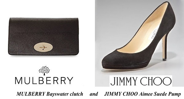 Duchess Of Cambridge's MULBERRY Bayswater clutch and JIMMY CHOO Aimee Suede Shoes