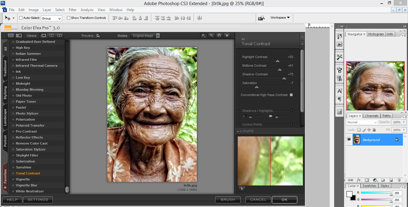 pic cara belajar how to create tutorial photoshop pemula membuat HDR high dinamic range close up dramatis orang tua nik color efek pro 2