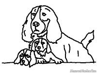 Mewarnai Gambar Keluarga Anjing
