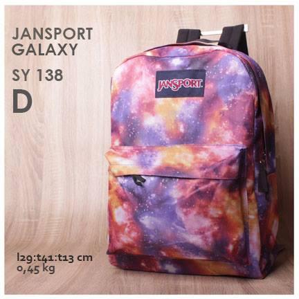 jual online tas ransel jansport motif galaxy warna terbaru purple pink orange harga murah
