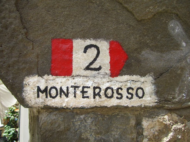 Monterosso sign, Cinque Terre, Italy.