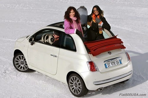 Fiat 500C in snow with friends
