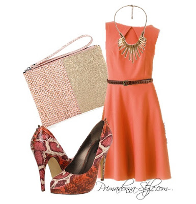 AB Studio Pleated  Fit & Flare Dress  Forever 21 Chain Link Belt  Forever 21 Arrow Fringe Necklace   Michael Antonio Leeland-Rep  BCBGeneration Two-Tone Wristlet Minaudiere