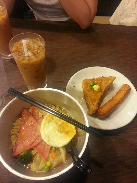 kim gary hong kong restaurant set D nissin noodles ham fried egg french toast yuan yang sausage