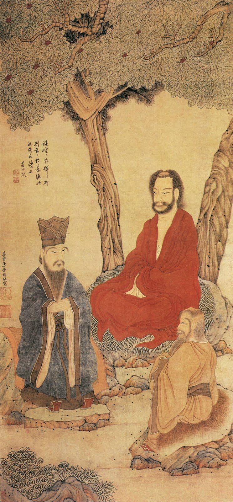 """""""La compasión es la primera regla"""". (Buddha & Confucio & Lao tsé, por Ding Yunpeng)"""