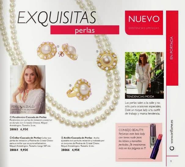 Bisuteria fina con perlas Oriflame C-3 2015