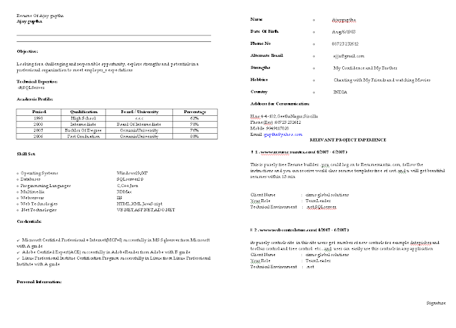 fresher resume sample