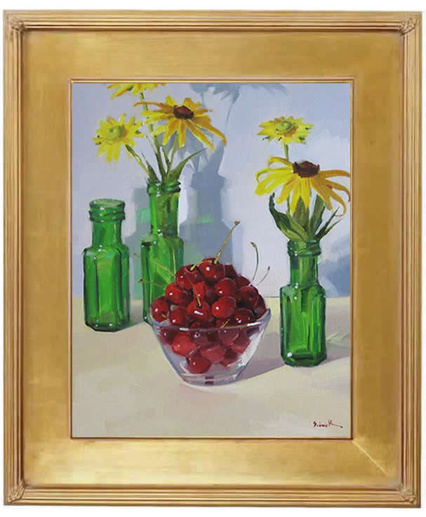 "Sedwick Studio Purple Bowl Of Plums Fruit Bowl Still: Sedwick Studio: ""Bowl Of Cherries With Green Glass Vases"