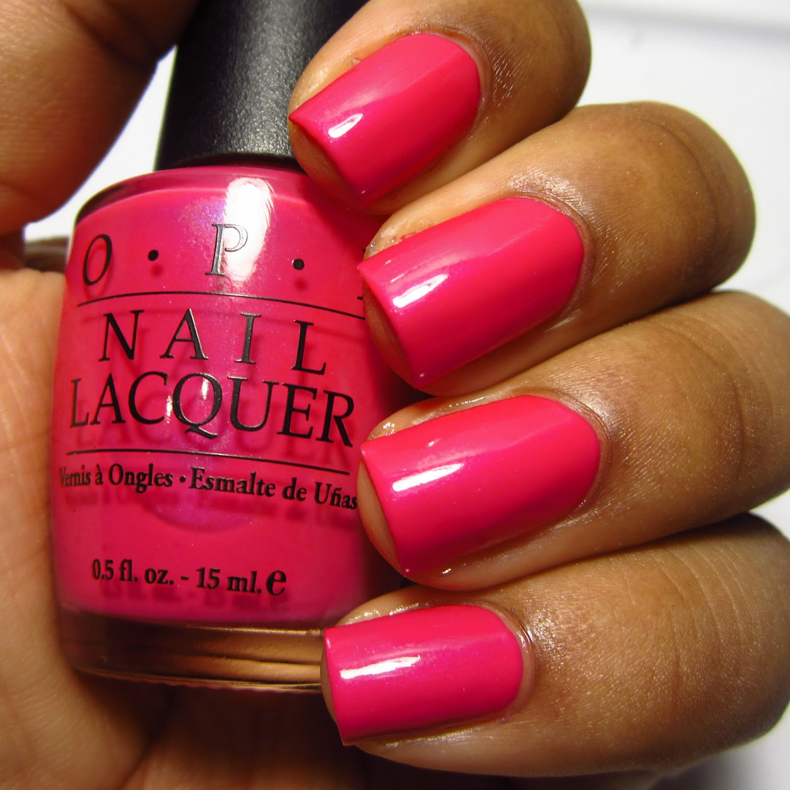 OPI Far East Fuchsia pink nail polish brown skin