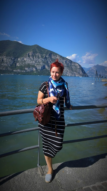 Striped Zara dress, blue scarf, espadrilles and a backpack at Iseo, Lago d'Iseo